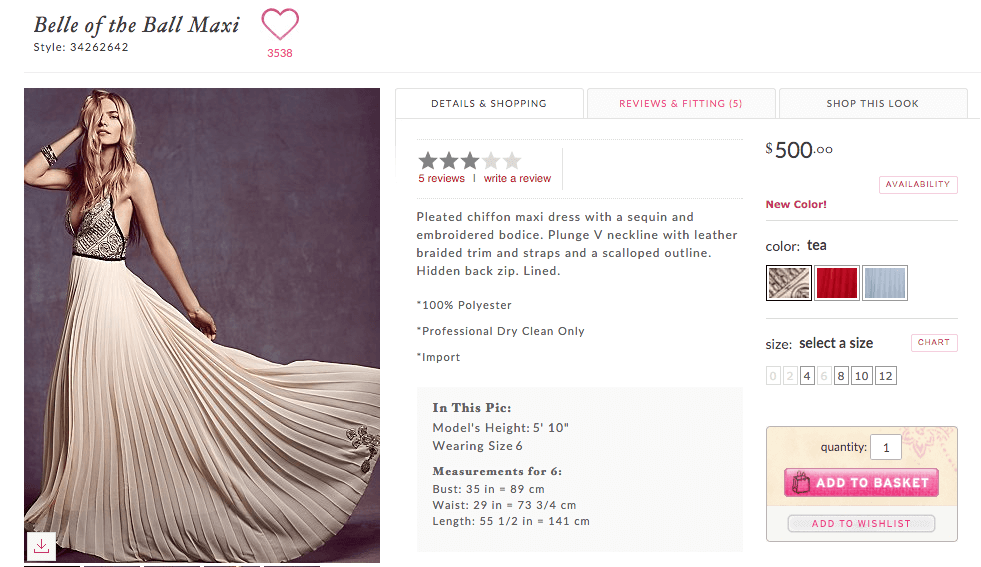 Free People's fashion eCommerce site